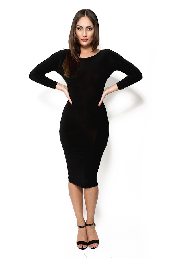 951c2460e9086d Amarisa zwarte midi jurk met open rug en lange mouwen